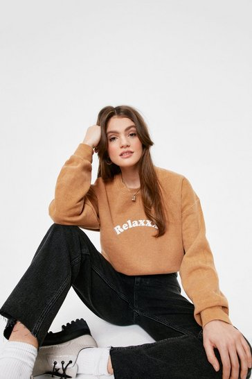 Coffee Relaxxx Washed Oversized Graphic Sweatshirt