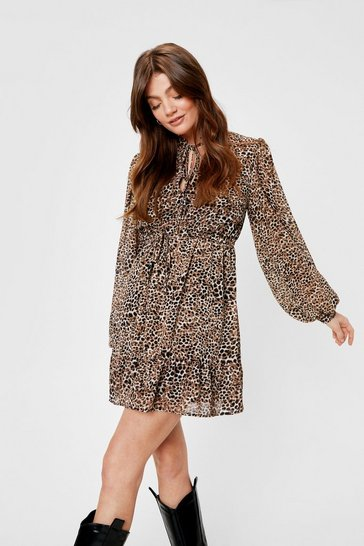 Tan Chiffon Tie Front Leopard Mini Dress