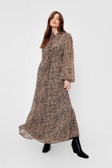 Tan Chiffon Tie Front Leopard Maxi Dress