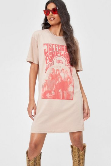 Sand Jefferson Airplane Graphic T-Shirt Dress