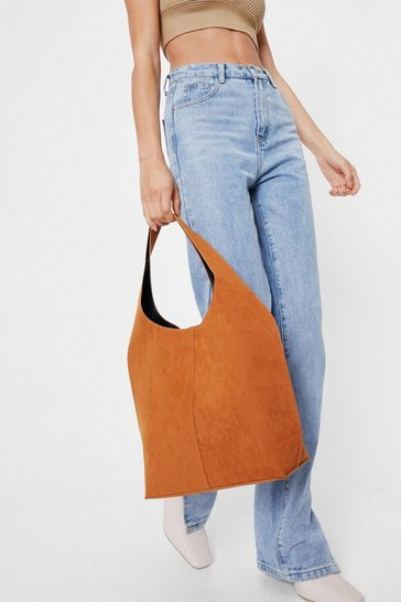 Tan Faux Suede Slouchy Shoulder Bag