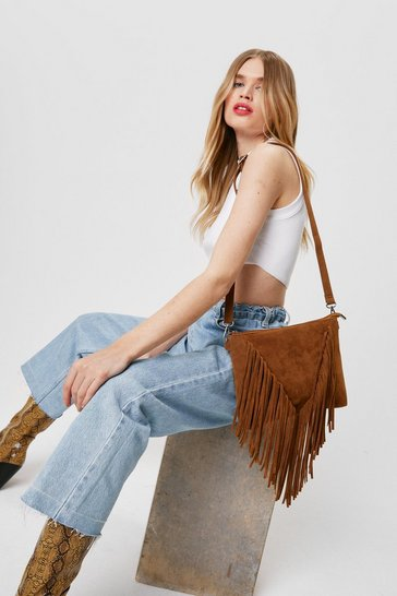 Tan WANT Faux Suede Fringed Crossbody Bag