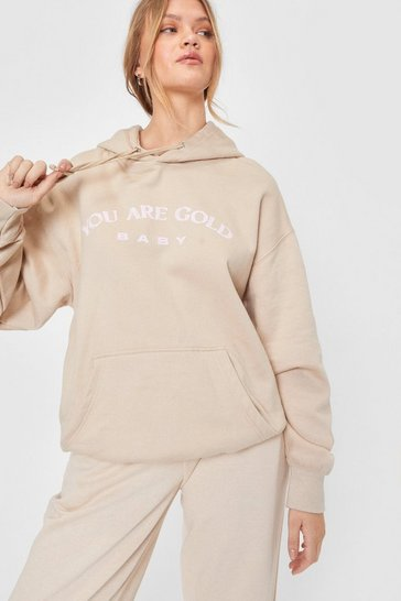 Sweat oversize à capuche et slogan Your Are Gold Baby, Sand