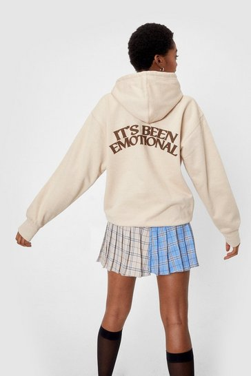 Sand It's Been Emotional Oversized Graphic Back Hoodie