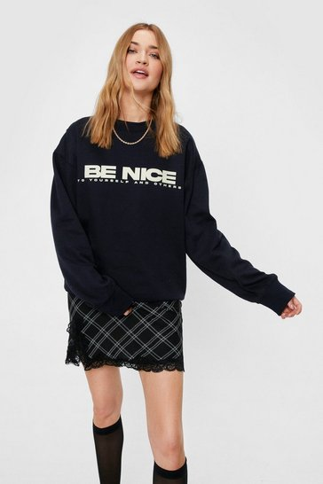 Sweat oversize à slogan Be Nice, Navy