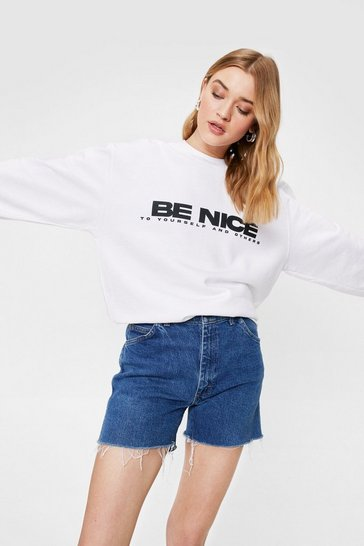 White Be Nice Relaxed Graphic Sweatshirt