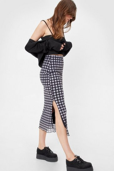 Black Mesh High Waisted Check Midi Skirt