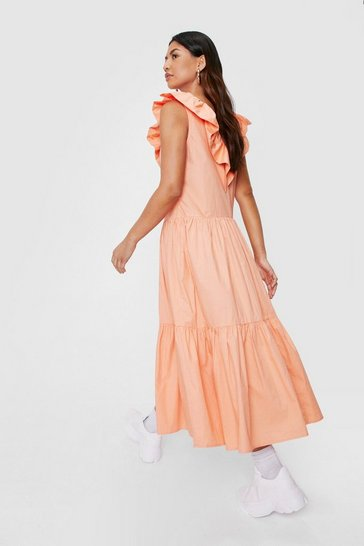 Orange Ruffle Neckline Tiered Midi Dress