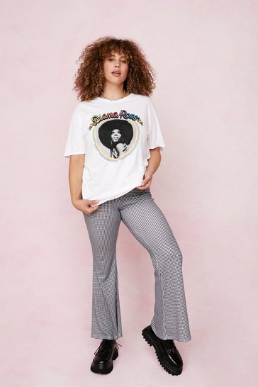 White Diana Ross Plus Size Graphic Band T-Shirt