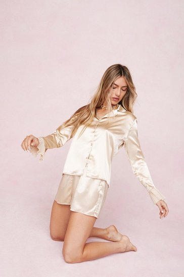 Champagne Satin Chiffon Shirt and Shorts Pajama Set
