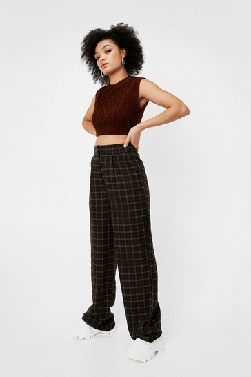 Brown Petite Check Print Wide-Leg Pants