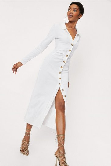 Stone Ribbed Relaxed Shirt Midi Dress