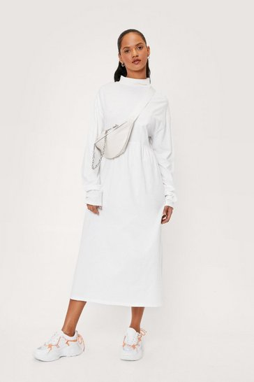 Ecru Cotton Long Sleeve Midi Smock Dress