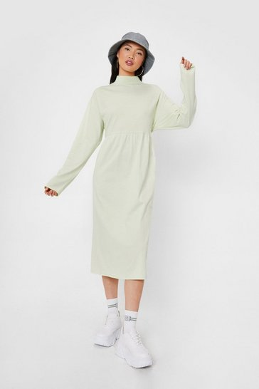 Sage Cotton Long Sleeve Midi Smock Dress