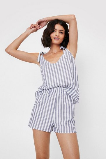 Navy Stripe Print Tie Pajama Top and Shorts Set