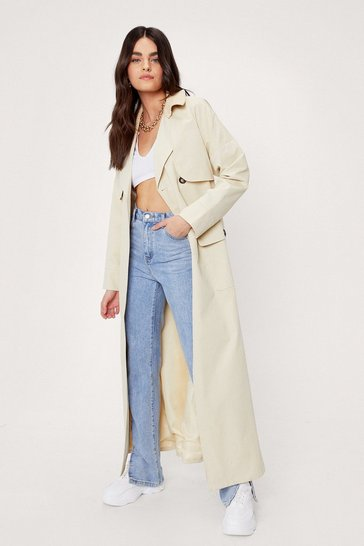 Stone Maxi Cord Collar Belted Trench Coat