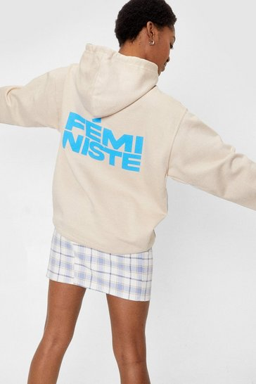 Sand Feministe Oversized Graphic Back Hoodie