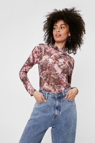 Brown Tie Dye Print High Neck Long Sleeve Bodysuit