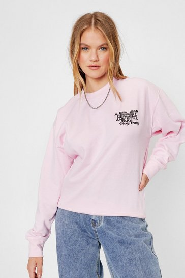 Respect Oversized Graphic Sweatshirt, Pink