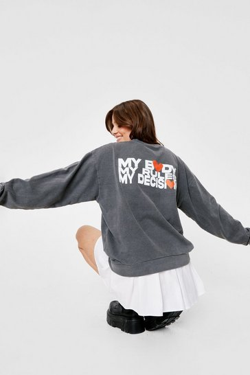 Charcoal My Body Graphic Back Sweatshirt