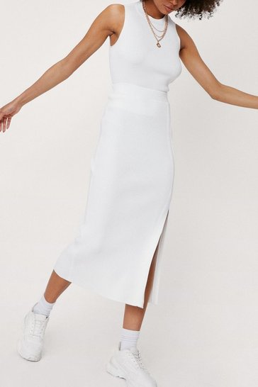 Ivory Knitted Tie Back Skirt Co-ord Set