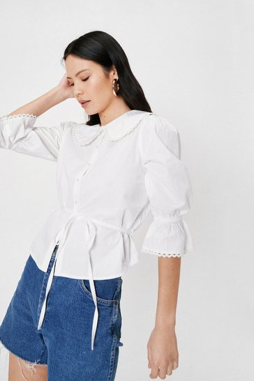 White Relaxed Crew Neck Puff Sleeve Blouse