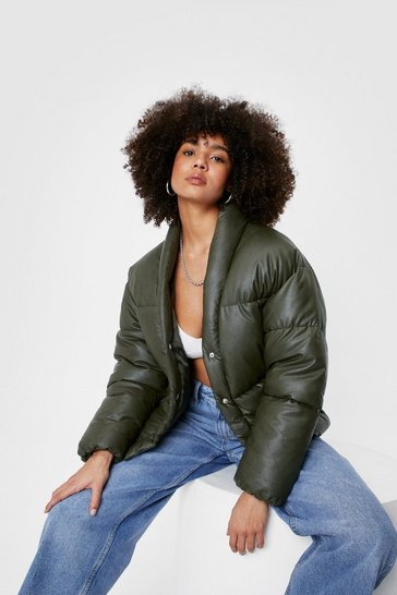 Khaki Cropped Padded Long Sleeve Jacket