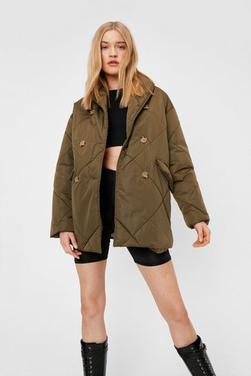 Khaki Quilted Button Down Padded Coat