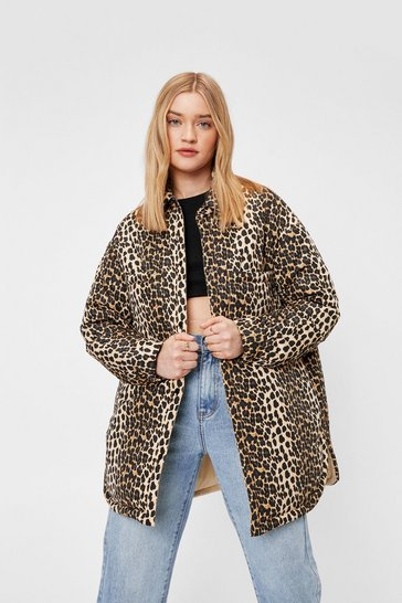 Stone Leopard Padded Oversized Shacket