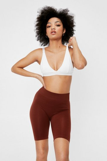 Auburn Petite Ribbed Seamless High Waisted Biker Shorts