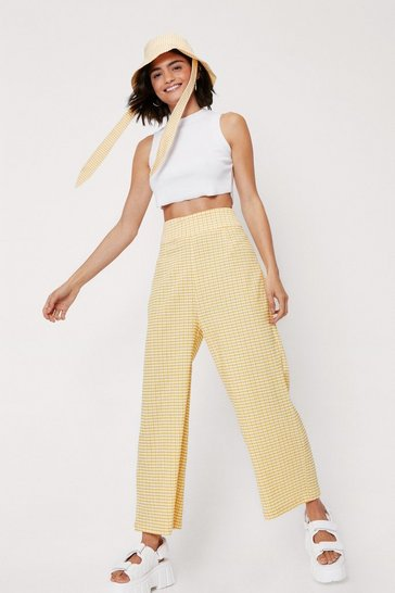 Yellow High Waisted Check Print Culotte Pants
