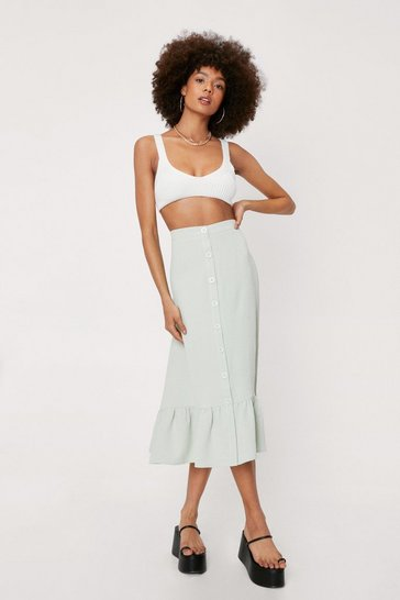 Sage Textured Button Down Ruffle Midi Skirt