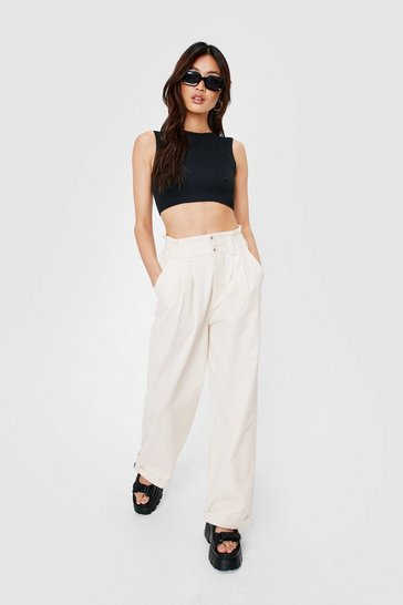 Ivory High Waisted Straight Leg Cargo Pants