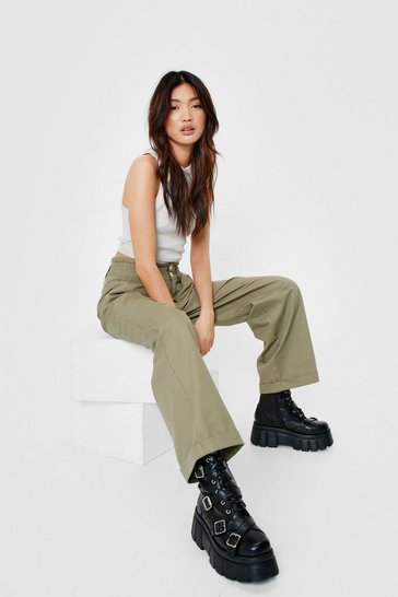 Khaki High Waisted Straight Leg Cargo Pants