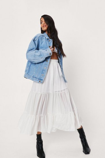 Off white High Waisted Tiered Midi Skirt