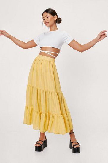 Yellow High Waisted Tiered Midi Skirt