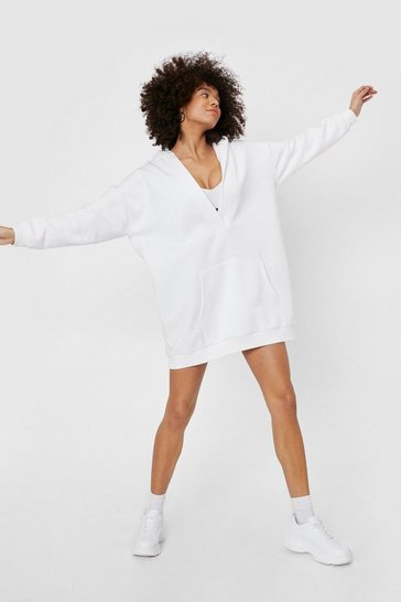 Off white Plunge V Neck Oversized Hoodie Mini Dress