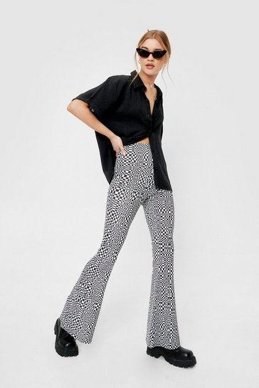 Black Geometric Check Flare Pants