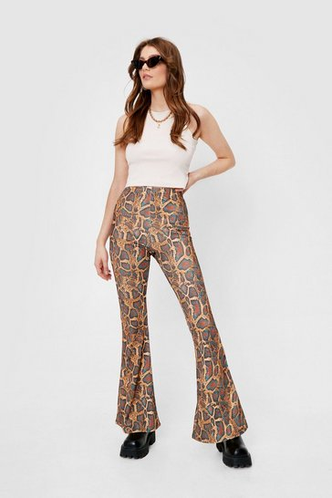 Brown Snake Print High Waisted Flare Pants