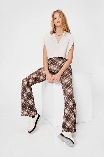 Beige Check Crepe High Waisted Flares