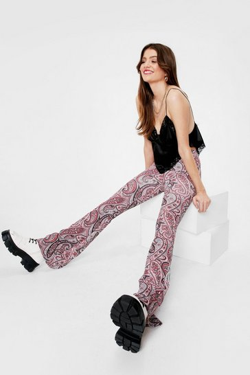 Pink High Waisted Paisley Flare Pants