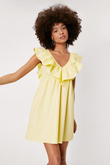 Lemon Ruffle Layered V Neck Mini Dress