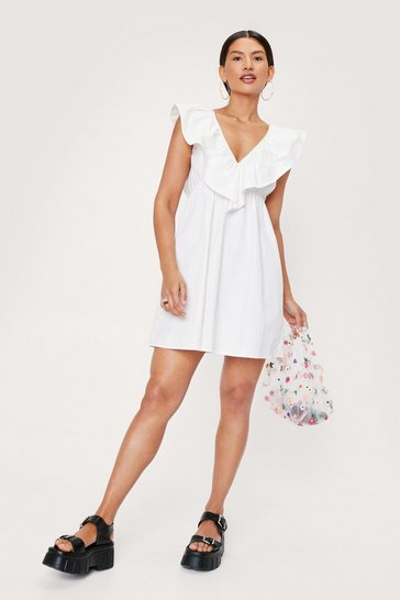 White Ruffle Layered V Neck Mini Dress