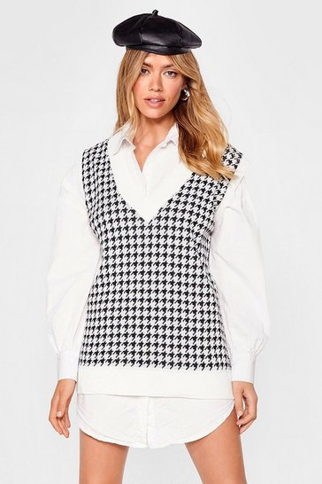 Oatmeal V Neck Houndstooth Knitted Tank Top