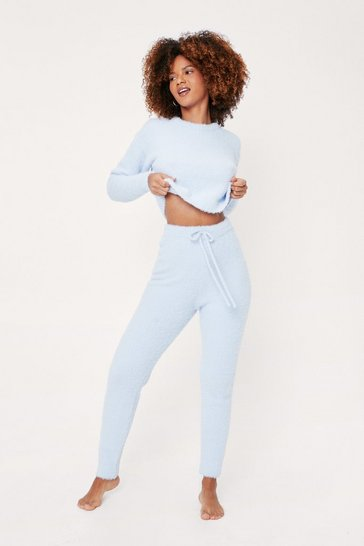 Dusty blue Fluffy Knit Sweater and Joggers Lounge Set