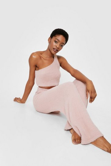 Pale pink One Shoulder Knit Top and Pants Lounge Set