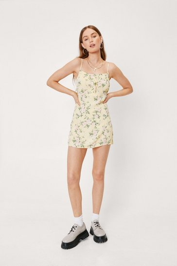Lemon Floral Cami Mini Dress