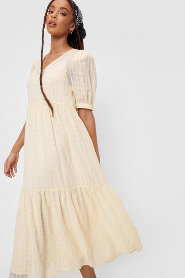 Lemon Check Design Chiffon Puff Sleeve Maxi Dress