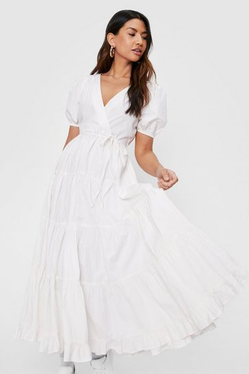 White Puff Sleeve V Neck Wrap Midi Dress