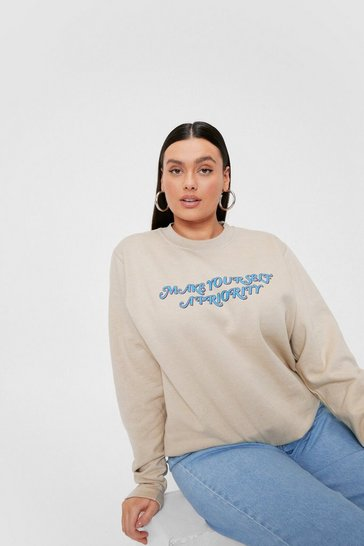 Stone Plus Size Priority Graphic Sweatshirt